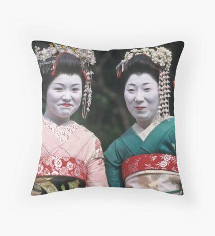 Happy Geishas Throw Pillow
