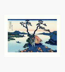 Ein Blick auf den Fuji über den Suwa - See (Suwa - See in der Provinz Shinano) | Japan Kunstdruck