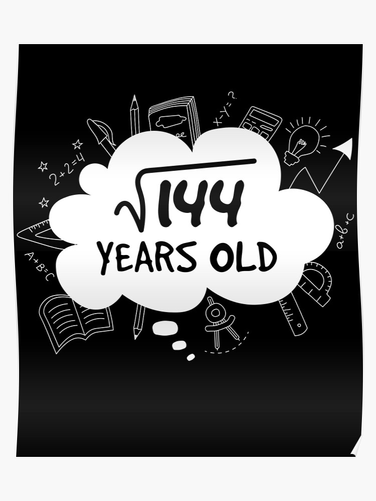 Square Root of 144 12 Years Old Youth T-Shirt Funny 12th Birthday Kids Shirt
