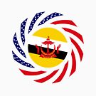 Bruneian American Multinational Patriot Flag Series by Carbon-Fibre Media