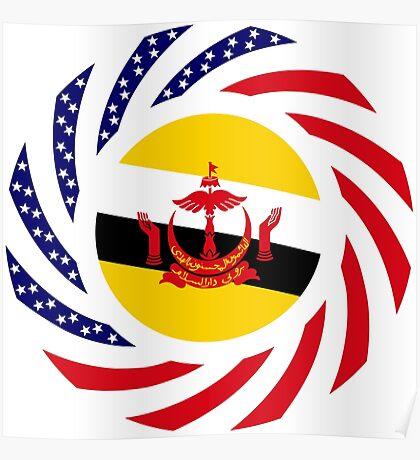 Bruneian American Multinational Patriot Flag Series Poster