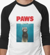 Paws Ferret Funny Jaws Parody Men's Baseball ¾ T-Shirt