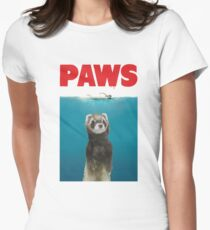 Paws Ferret Funny Jaws Parody Women's Fitted T-Shirt