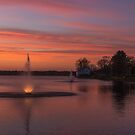 Lake Milo Fountains at Sunset by Debbie  Roberts