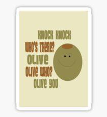 Olive You Knock Knock Joke Card Sticker