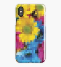 Abstract Low Res Pixelated Floral Design Art iPhone Case