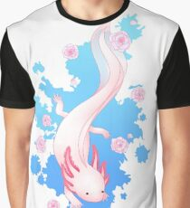 Axolotl Swimming with Cherry Blossoms Graphic T-Shirt