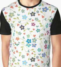 Multi Colorful Floral Pattern  Graphic T-Shirt