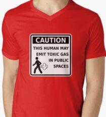 Fart Warning This Human May Emit Toxic Gas Funny Gag V-Neck T-Shirt