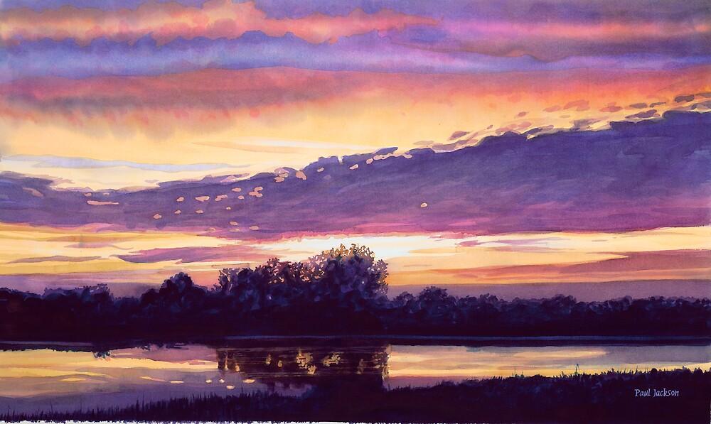 """Mill Creek Sunset"" Watercolor by Paul Jackson"