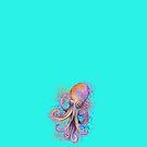 « Pieuvre violette sur fond turquoise » par PerenArt