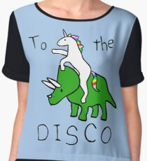 To The Disco (Unicorn Riding Triceratops) Chiffon Top