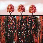 Tiny Orange Treescape no.1 by Lisafrancesjudd