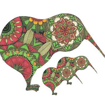 Mandala Kiwis Three by Hummingbirdnz