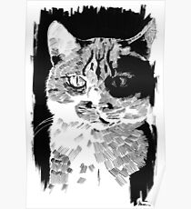 Cat in Paint Poster
