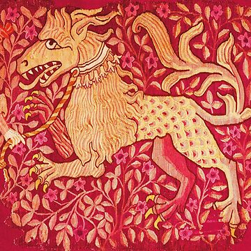 MEDIEVAL BESTIARY Lion Like Beast in Red  Floral Collection by BulganLumini