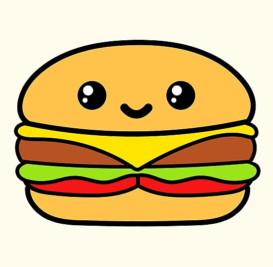 Burger Cute Kawaii Food By Awesomekawaii