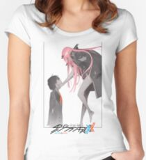 Darling in the Franxx Hiro and Zero Two logo Women's Fitted Scoop T-Shirt