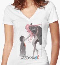 Darling in the Franxx Hiro and Zero Two logo Women's Fitted V-Neck T-Shirt
