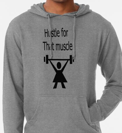 Hustle for that muscle in black and blue Lightweight Hoodie