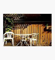 white table and chairs Photographic Print