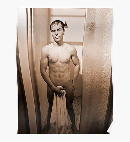 Shower Scene - Sepia Poster