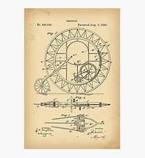 1892 Patent Velocipede Bicycle Unicycle history invention Photographic Print