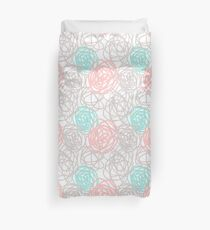 Teal Pink and Gray Scribble Art Duvet Cover