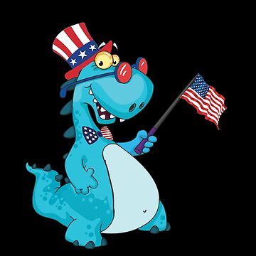 American Flag, Baby Dinosaur, T Rex T Shirt - 4th July Gifts by KhushbooLohia
