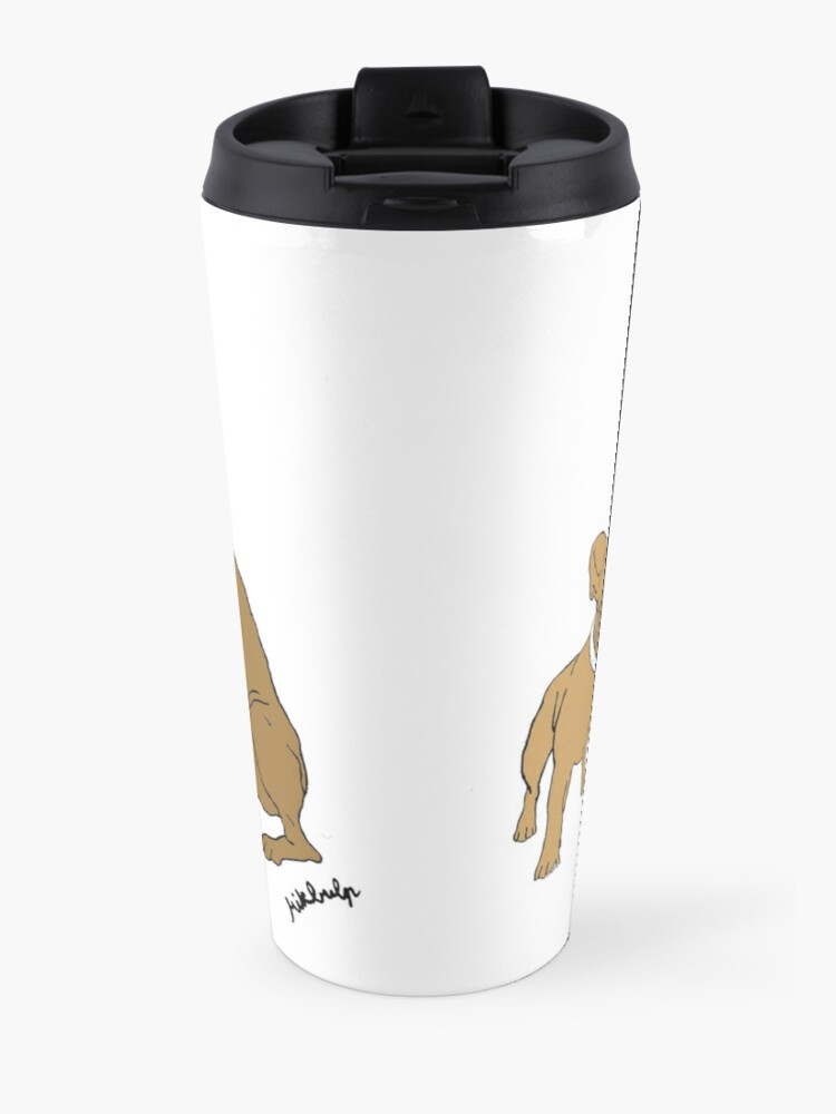 Alternate view of love & peace & dogs Travel Mug