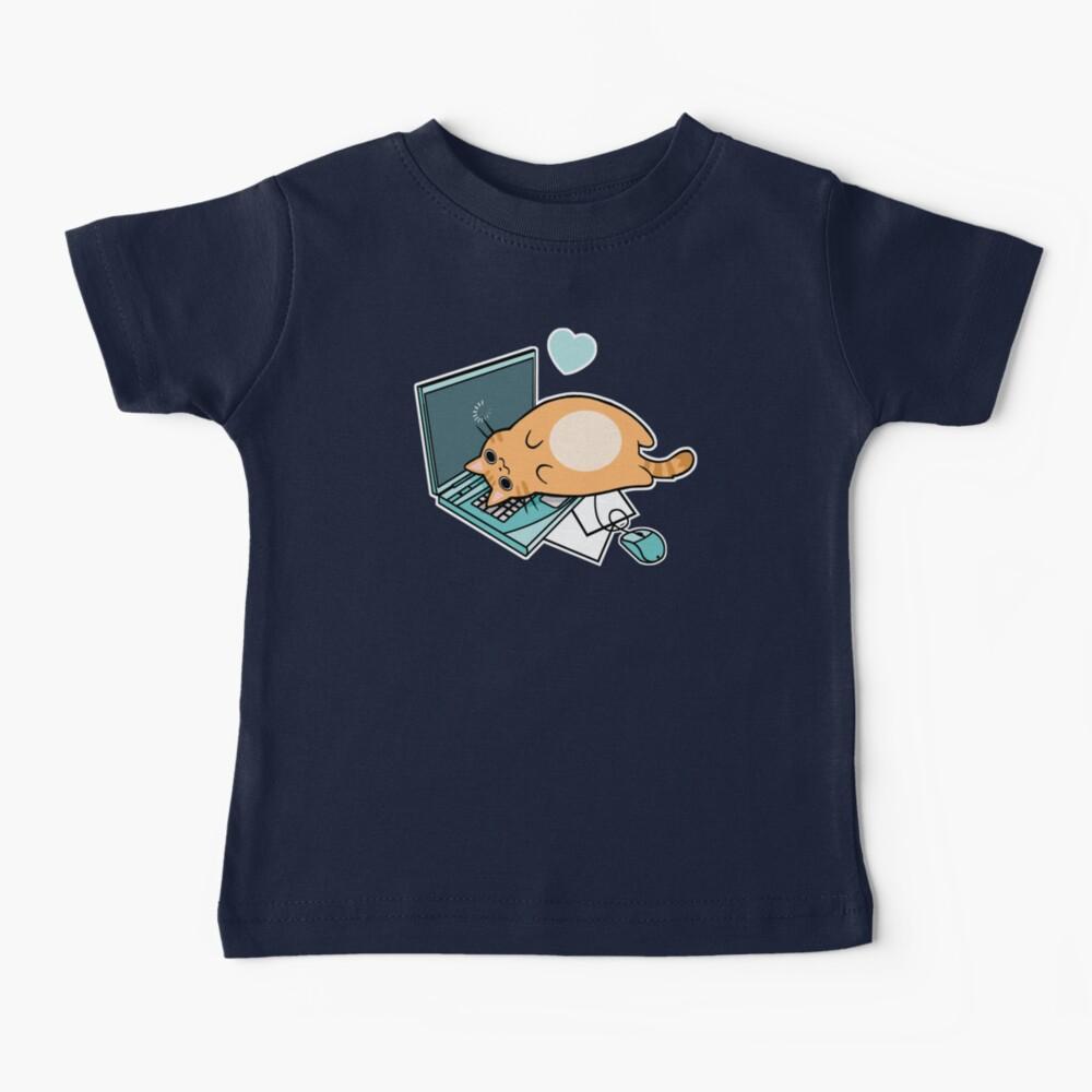 Nette Laptop-Katze Baby T-Shirt