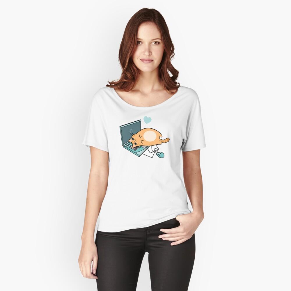 Nette Laptop-Katze Loose Fit T-Shirt