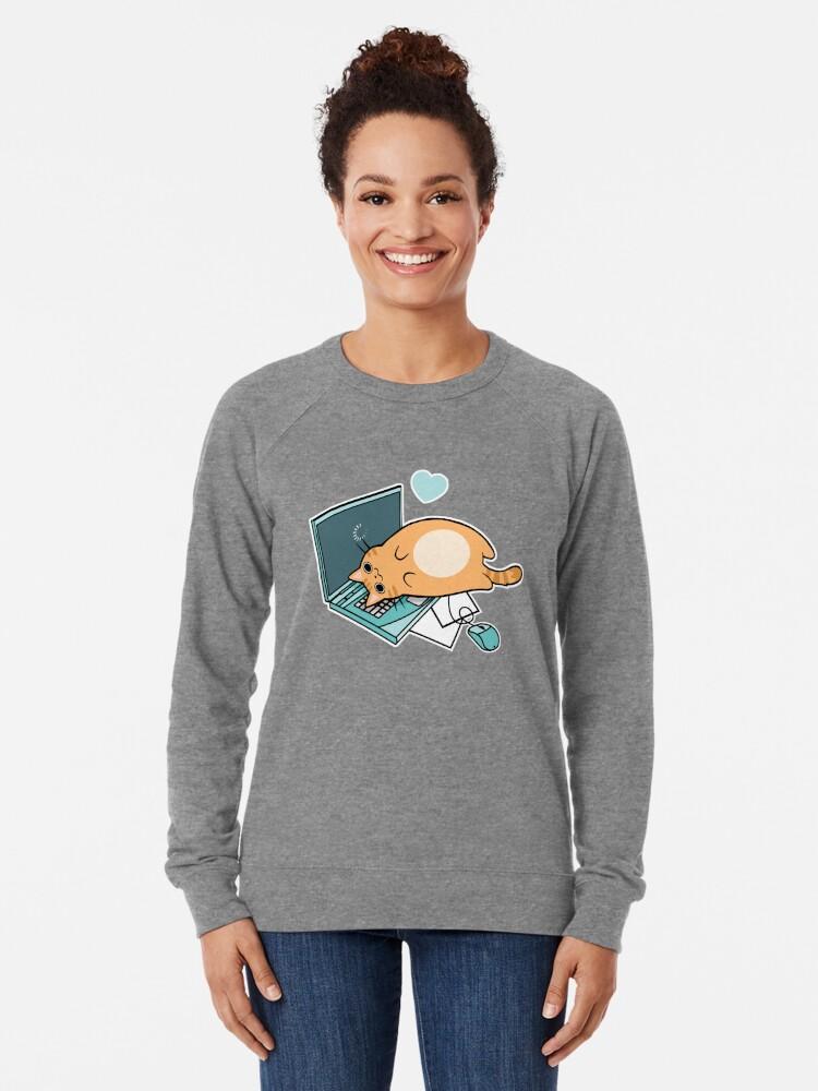 Alternative Ansicht von Nette Laptop-Katze Leichter Pullover