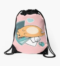 Cute Laptop Cat Drawstring Bag