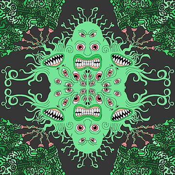 Surreal Mutant Space Alien Creature Shooting Abstract Aztec Inspired Turds from Toilet Plungers that Creates a Charming Pattern of Weirdness and Wonder by EverhartArt