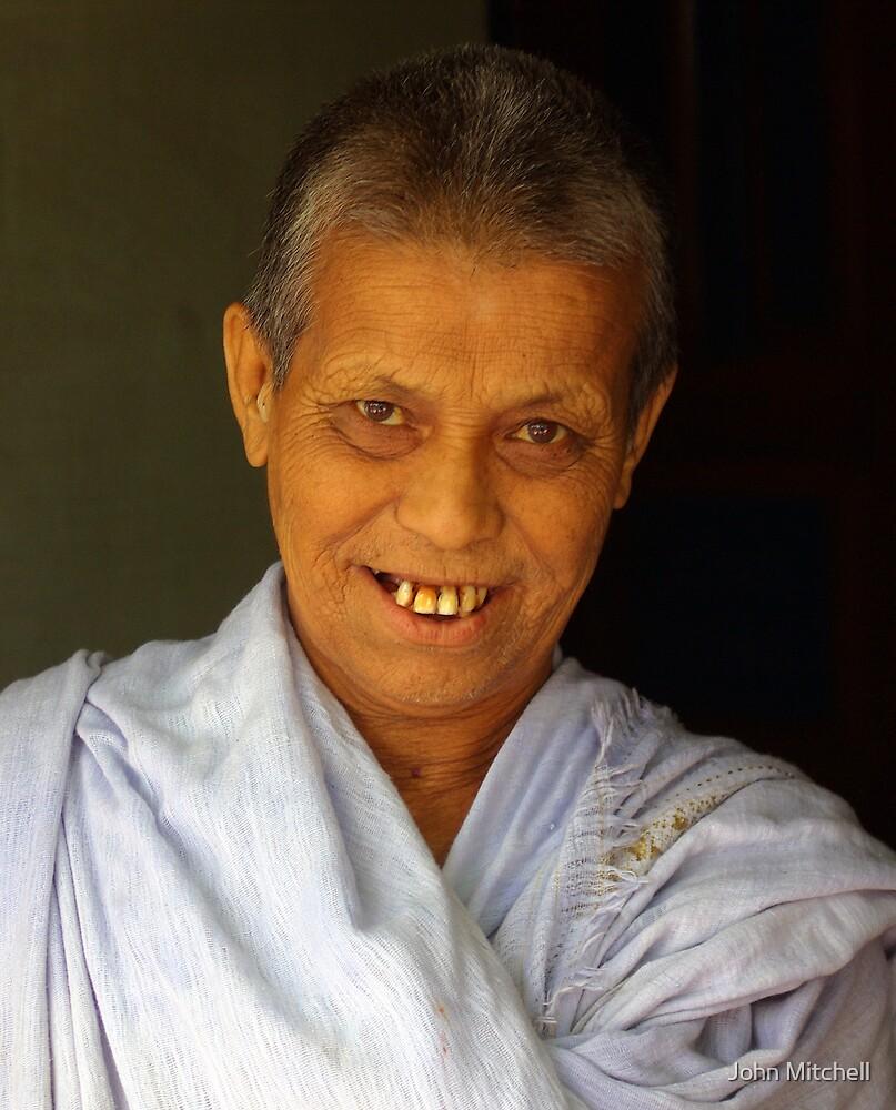 Buddhist abbot, Majuli Island, Assam India by John Mitchell