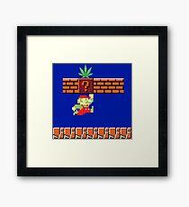 8-bit Retro Mario Marijuana Framed Print