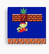 8-bit Retro Mario Marijuana Canvas Print
