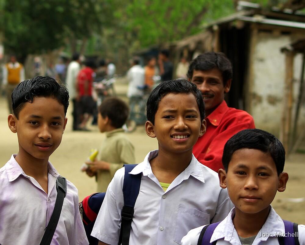 Mising tribe schoolboys, Assam, India by John Mitchell