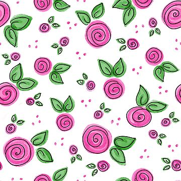 Swirly Pink Rose Pattern by AllyArtDesigns
