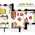 Floorplan of AMELIE's apartment in Montmartre by Iñaki Aliste Lizarralde