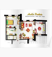 Floorplan of AMELIE's apartment in Montmartre Poster