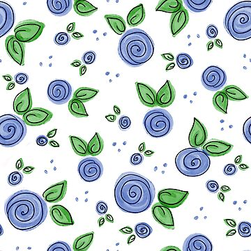 Swirly Blue Rose Pattern by AllyArtDesigns