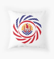French Polynesian American Multinational Patriot Flag Series Throw Pillow