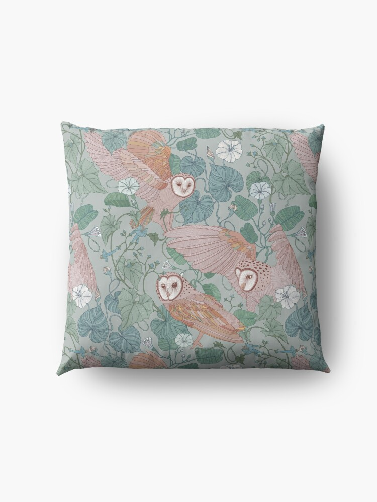 Alternate view of Pink barn owls Floor Pillow