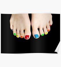 Pretty feet colorful Toenails Poster