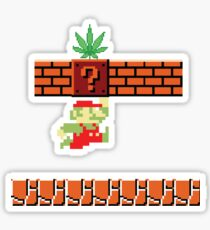 8-bit Retro Mario Marijuana Sticker
