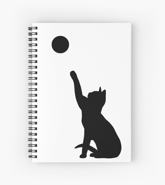 Cuadernos De Espiral Jugar Silueta De Gato Blanco Y Negro De