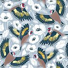 Goldfinches flying over white poppies // blue grey background navy and yellow birds by SelmaCardoso