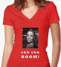 Chk chk boom With Clares Picture - white text Women's Fitted V-Neck T-Shirt